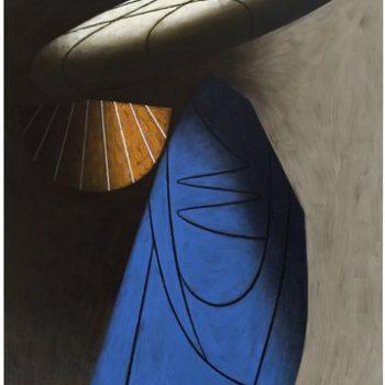 Teoksen nimi: Vierailija, 2011, öljy kankaalle, 255 x 165 cm