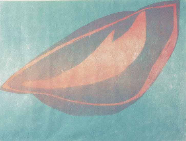 Sininen Uni; puupiirros, 2010, 90×100 cm