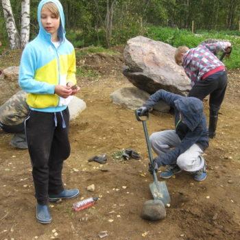 Teoksen nimi: Kukkiva KiviPelto syyskuu 2016,koululaisten ympäristötaidetyöpajat.