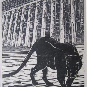 Teoksen nimi: Jotain muuta…2011. 19×28. Linoleikkaus
