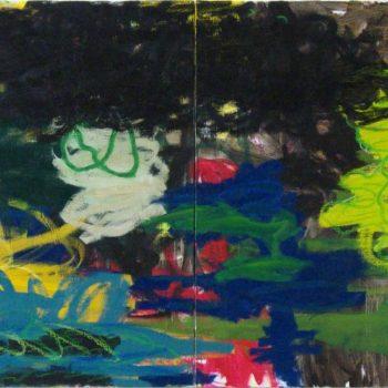 Teoksen nimi: Lyhyt kertomus, 2009, öljy kankaalle, 100×240