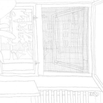 Teoksen nimi: Keittiön ikkuna, lyijykynäpiirustus  2007