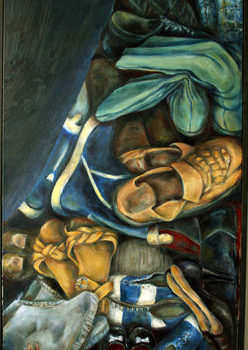 Teoksen nimi: Askeleet , 2003, öljy kankaalle,115x50cm