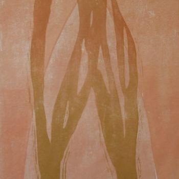 Teoksen nimi: Kauris ja metsä;  puupiirros, 2010, 139×100 cm