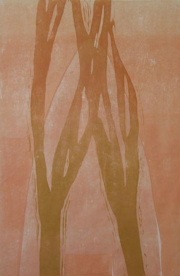 Kauris ja metsä;  puupiirros, 2010, 139×100 cm