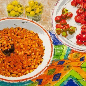 Teoksen nimi: Värivälipala. Puupiirros, 2012, 41 x 42 cm