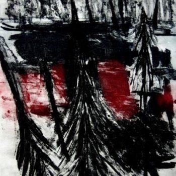 Teoksen nimi: Svarta granar/Musta metsä