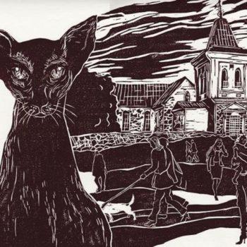 Teoksen nimi: Porkkalan varjo. 2010. 32×29. Linoleikkaus