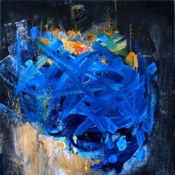 Teoksen nimi: sarjasta Myrsky IV, 2015, öljy mdf levylle, 100x100cm