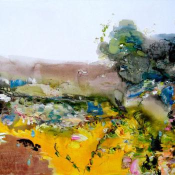 Teoksen nimi: Elämänlanka valtaa puutarhan,155cm x 180cm, vv 2011