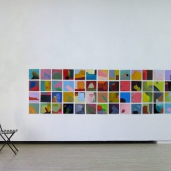 "Name of the work: ""4 x 28 = 107"", painting squares 2002 –"