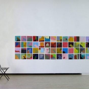 "Teoksen nimi: ""4 x 28 = 107"", painting squares 2002 –"