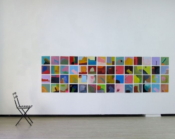 """4 x 28 = 107"", painting squares 2002 –"