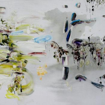 Teoksen nimi: Lehmus ja lehtikuusi,130cm x 180cm, vv 2011