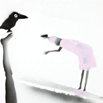 Teoksen nimi: Tyttö ja korppi