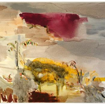 Teoksen nimi: Kalliolla kasvava,130 x 170 cm, vv 2010