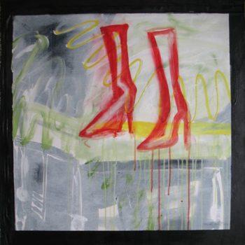 Teoksen nimi: Punaiset Bootsit. Red Boots. 73 x 73.