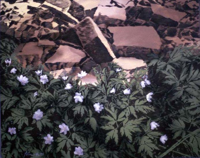 Vuokot, akryyli kankaalle, 70×85 cm