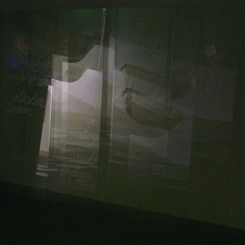 Teoksen nimi: Video-installation THE JOURNEY/2012, detail: relflections on the glass-sheets with texts/The Kunsthalle Porvoo, Finland