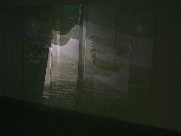 Video-installation THE JOURNEY/2012, detail: relflections on the glass-sheets with texts/The Kunsthalle Porvoo, Finland