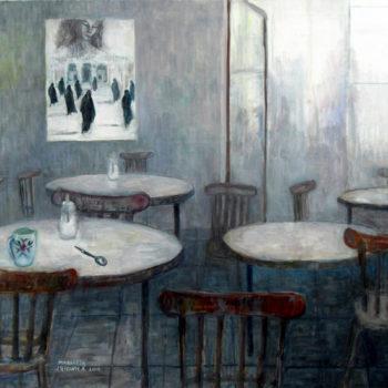 Teoksen nimi: HETKI RAUHASSA ,2011, 100cm x 89cm , öljy ja akryyli kankaalle
