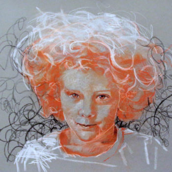 Teoksen nimi: Emma,2013.Color chalk 50 x65cm.