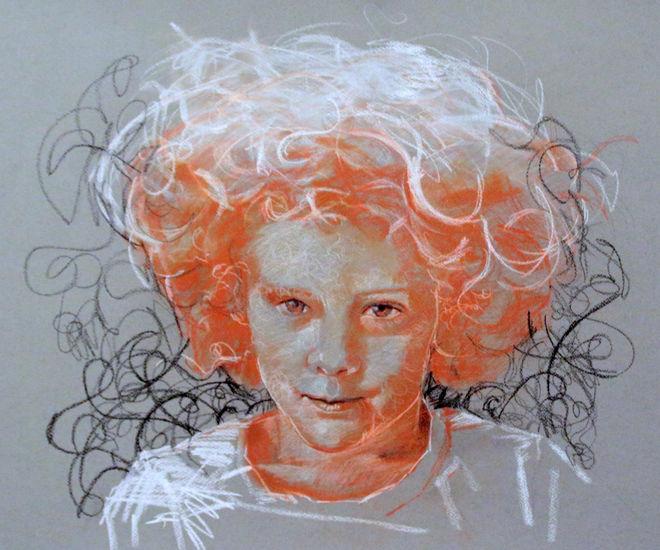 Emma,2013.Color chalk 50 x65cm.