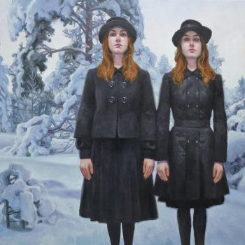 Teoksen nimi: Kaksoset lumisessa metsässä, 2017