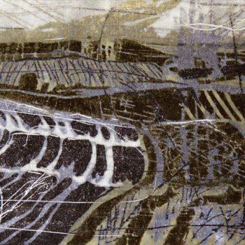 Teoksen nimi: Mausteiset maisemat: mustapippuri. Puupiirros, 2012, 14 x 26 cm