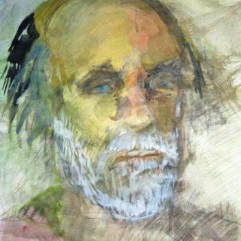Teoksen nimi: Isäni 2002 / My father 2002, akvarelli ja lyijykynä paperille / aquarell and pencil on paper