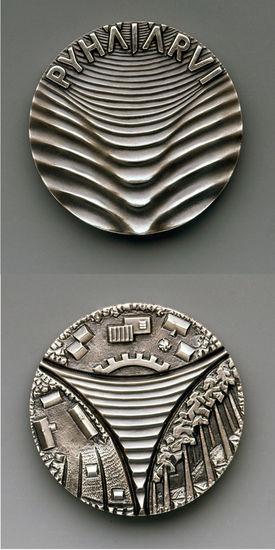 Hopeoitu Pyhäjärvi-mitali 1986 TT 1/10 tekijällä