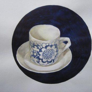 Teoksen nimi: Kahvia, kiitos   – akvarelli