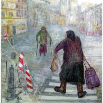Teoksen nimi: KOHTAAMINEN,akryyli kankaalle, 80x100cm, 2012
