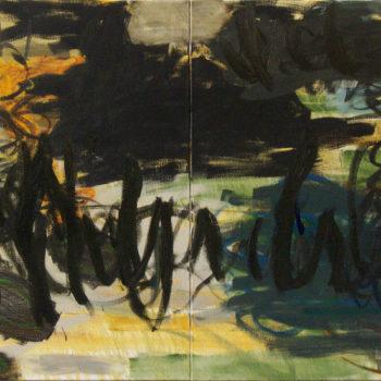 Teoksen nimi: Vastassa, 2012, öljy kankaalle, 120×240