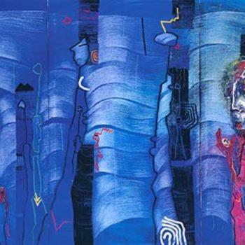 Teoksen nimi: Moon Stone 1998, öljy, 180×330 cm