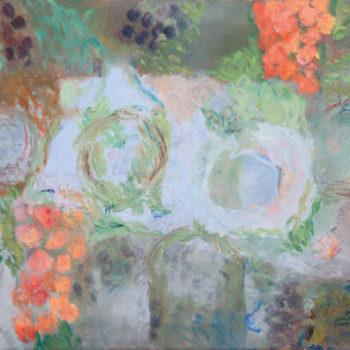 Teoksen nimi: Retkipöytä oliivipuiden alla