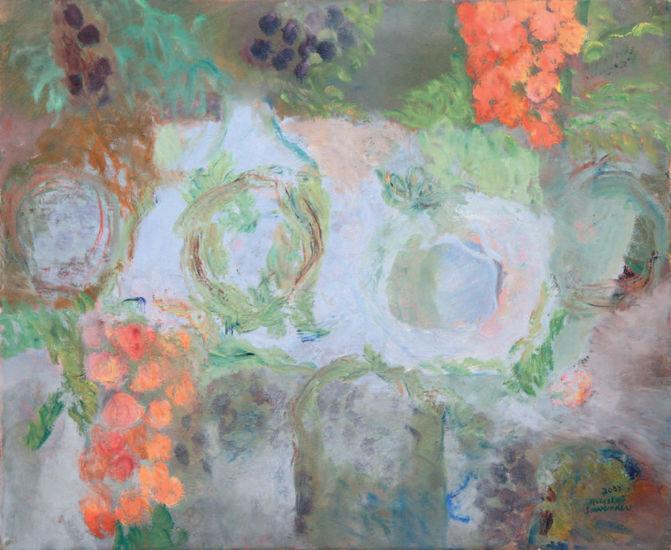 Retkipöytä oliivipuiden alla