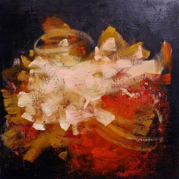 Teoksen nimi: sarjasta Myrsky I, 2015, öljy mdf levylle, 100x100cm