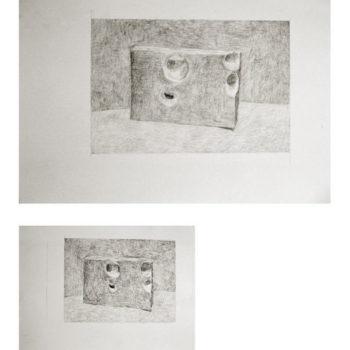 Teoksen nimi: Reiät x 2    lyijykynä (2007)