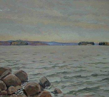 Teoksen nimi: Rannalla, Lohjanjärvi