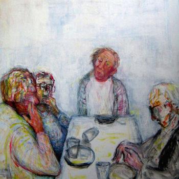 Teoksen nimi: EHTOOLLINEN, vesiväri,akryyli, grafiitti, 100x89cm, v.2006
