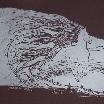 Teoksen nimi: Historian varjo. 2010. 21×35. Linoleikkaus
