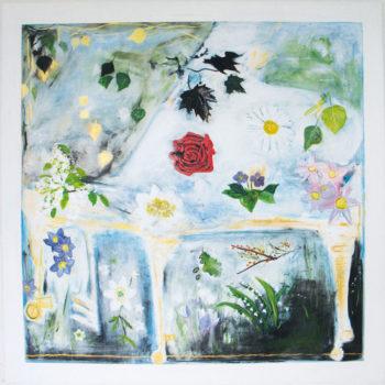 Teoksen nimi: Alpo Suhosen soiva kukkaflyygeli. 120 x 120.