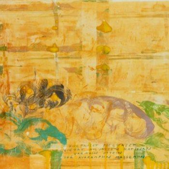 Teoksen nimi: Kultaiset pielukset vievät hiljaisen katsojan varmoin ottein yhä avarampiin maisemiin.