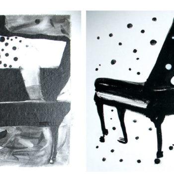 Teoksen nimi: Soittaja rakastuu. The Pianist falls in love.
