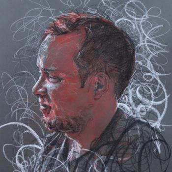 Teoksen nimi: Rauli, 2013.Color chalk 65 x 50cm.