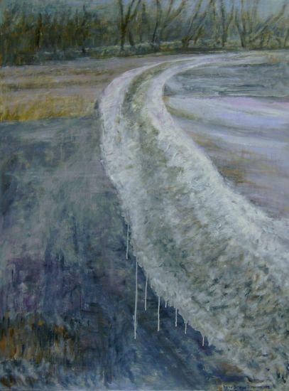Vettynyt jäätie   120 x 90 cm   v. 2009