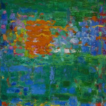 Teoksen nimi: Vihreää, oranssia, sinistä ja valkoista