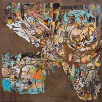 Teoksen nimi: Lentävä linnoitus,2012,170 X 183cm,akryyli kankaalle