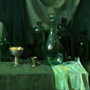 Teoksen nimi: Vihreät pullot